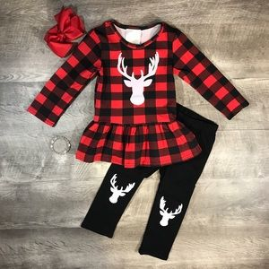 Buffalo plaid antler deer top and pants outfit